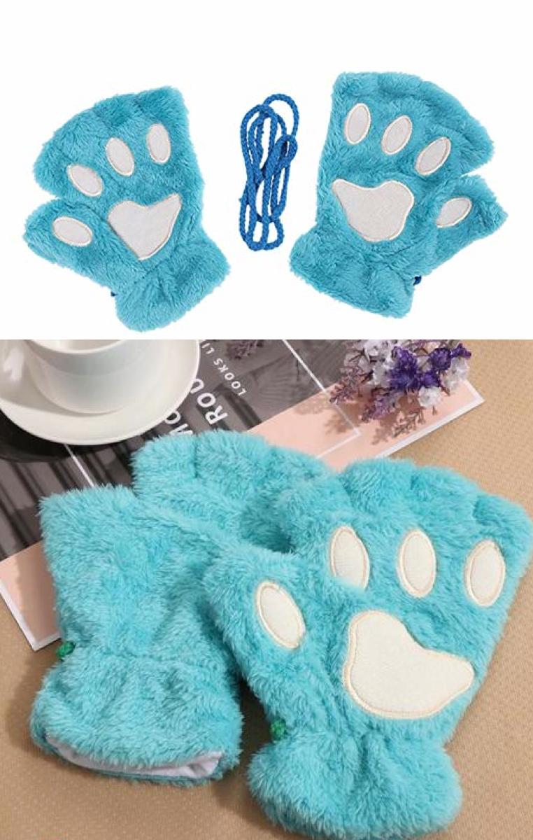 Cat Paw Gloves - Blue