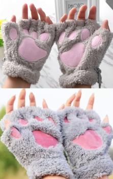 Cat Paw Gloves - Grey