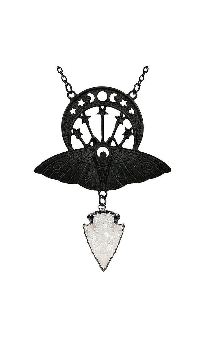 Crystal Moon Moth Necklace Black