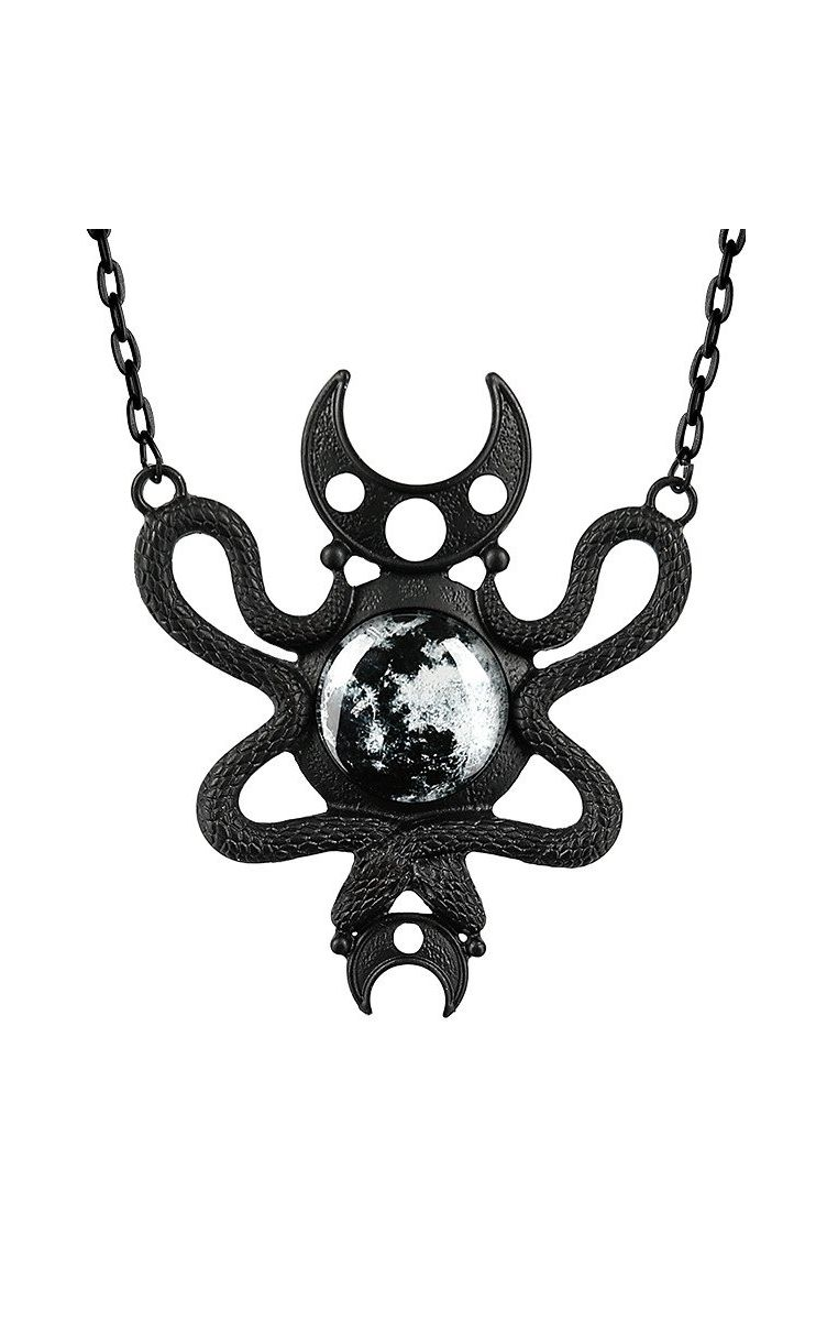 Moon Embraced Necklace Black