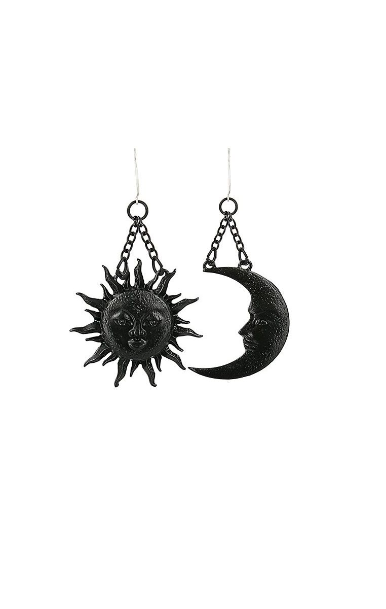Moon & Sun Earrings Black