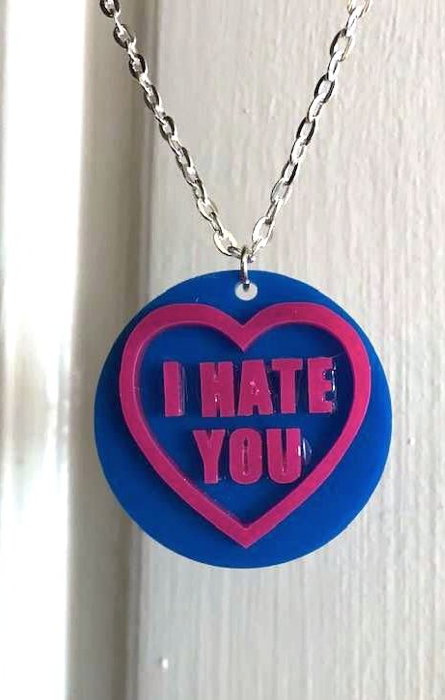 I Hate You Love Heart Necklace RRP £8.99