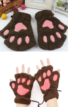 Cat Gloves Brown
