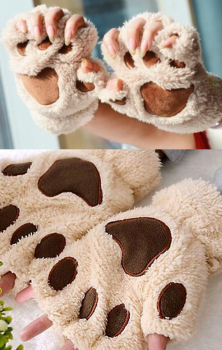 Cat Gloves Beige