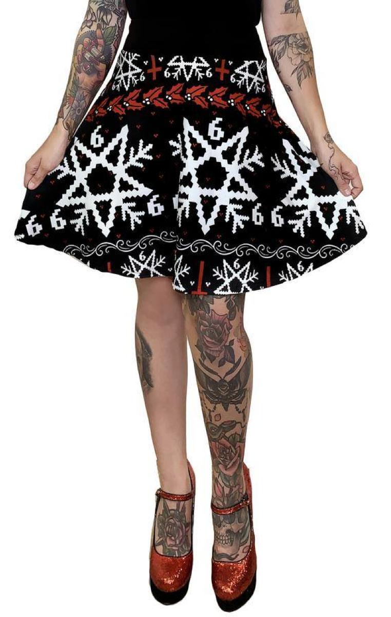 666 Christmas Xmas Sweater Skater Skirt RRP £49.99