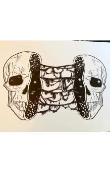 Split Skull A4 Print