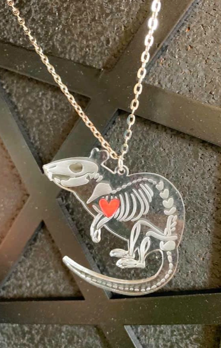 Rat Skeleton Clear Necklace RRP £6.99