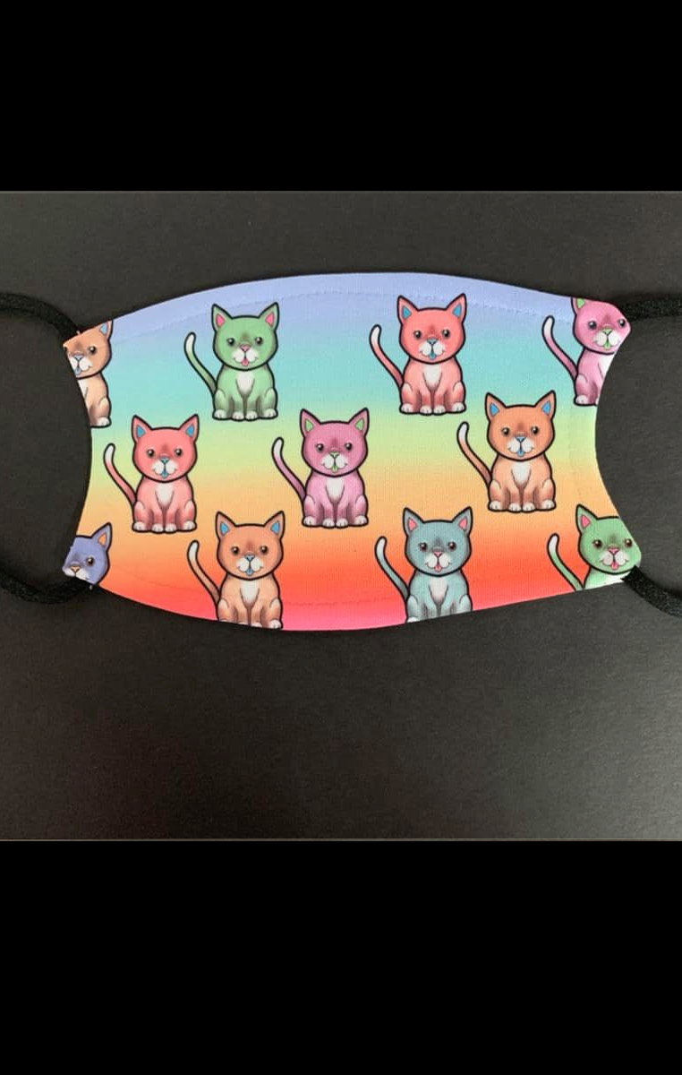 Rainbow Kitty Face Face Mask