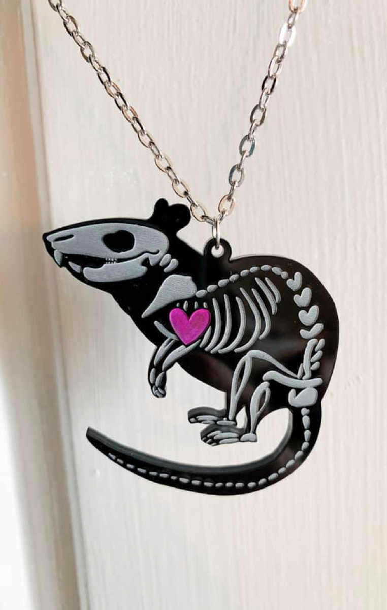 Rat Skeleton Black Necklace RRP £6.99