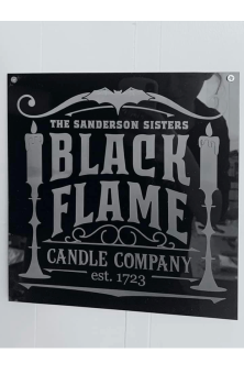 Black Flame Candle Sign