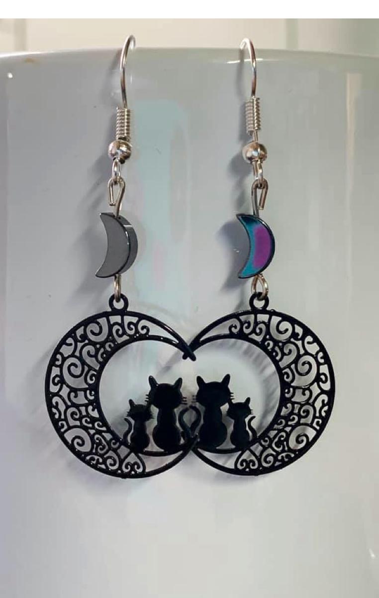 Cat Moon Earrings RRP £7.99