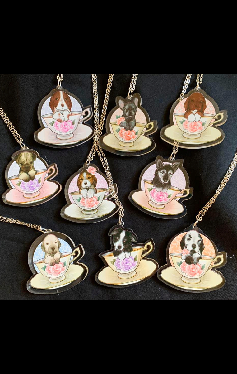 Puppy Teacup Necklace - Choose your breed