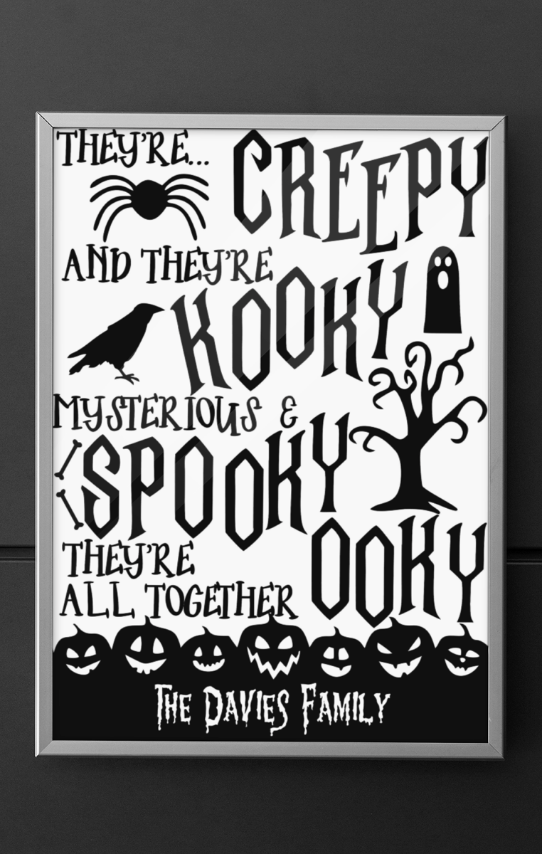 ADDAMS FAMILY PERSONALISED Print RRP £4.99-£9.99