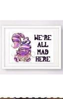 Cheshire Cat We're All Mad A4 Print