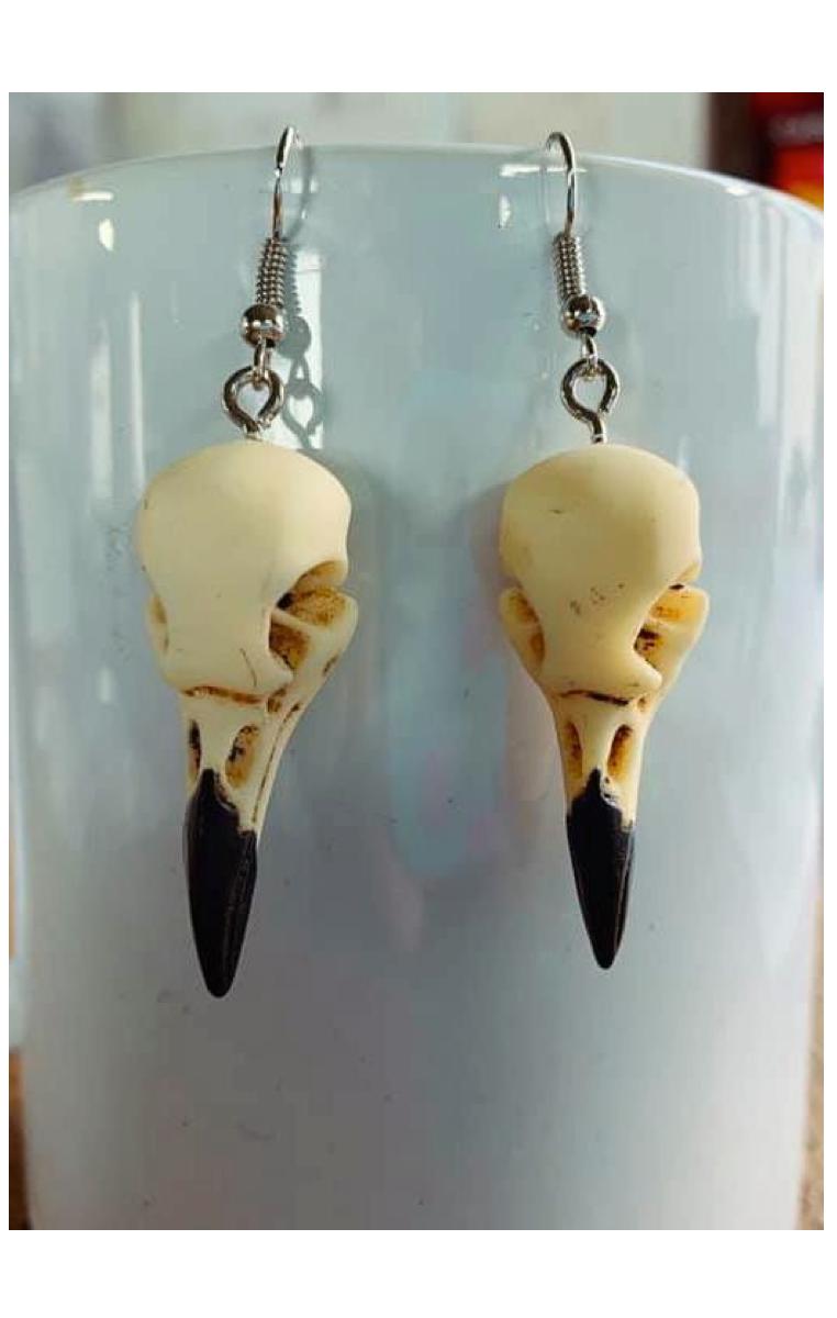 Bone Bird Skull Earrings