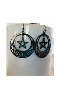 Celtic Moon Earrings Black