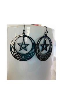 Celtic Moon Earrings Black