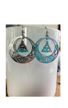 Celtic Moon Earrings Silver