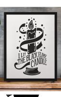 Black Flame Candle Print