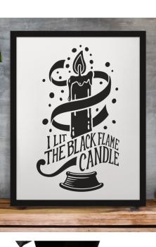 Black Flame Candle Print RRP £4.99-£9.99