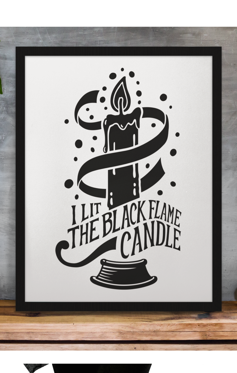 Black Flame Candle Print RRP £4.99-£9.99