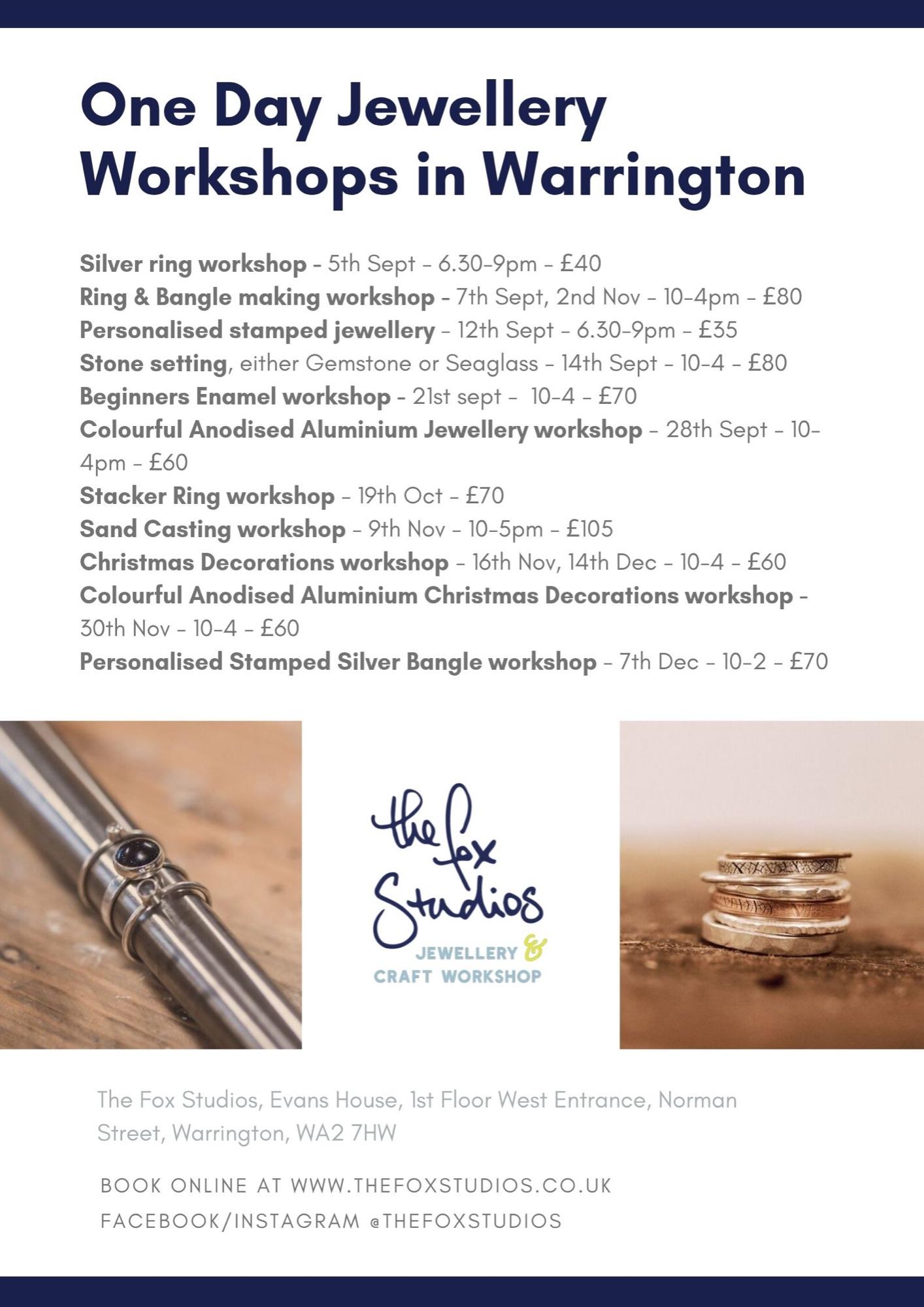 One Day Jewellery  Workshops Autumn 2019