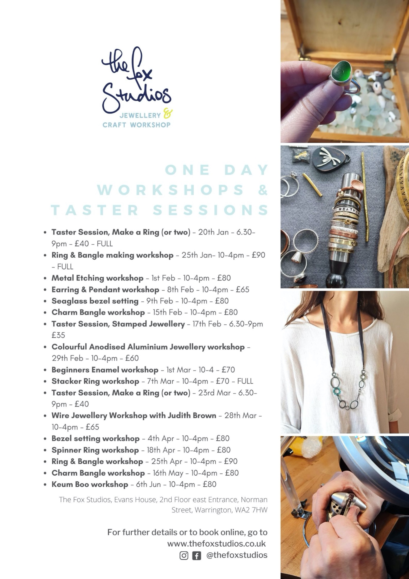 One Day Jewellery  Workshops Autumn 2019