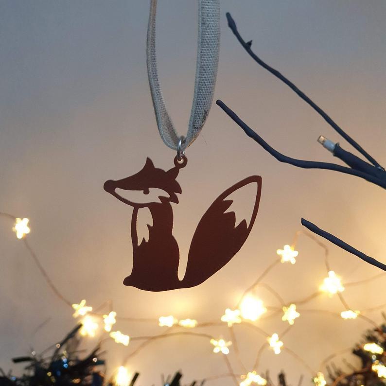 Hand cut Fox Christmas Decoration
