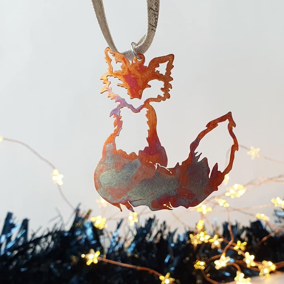 Hand cut Foxmas Christmas tree decoration