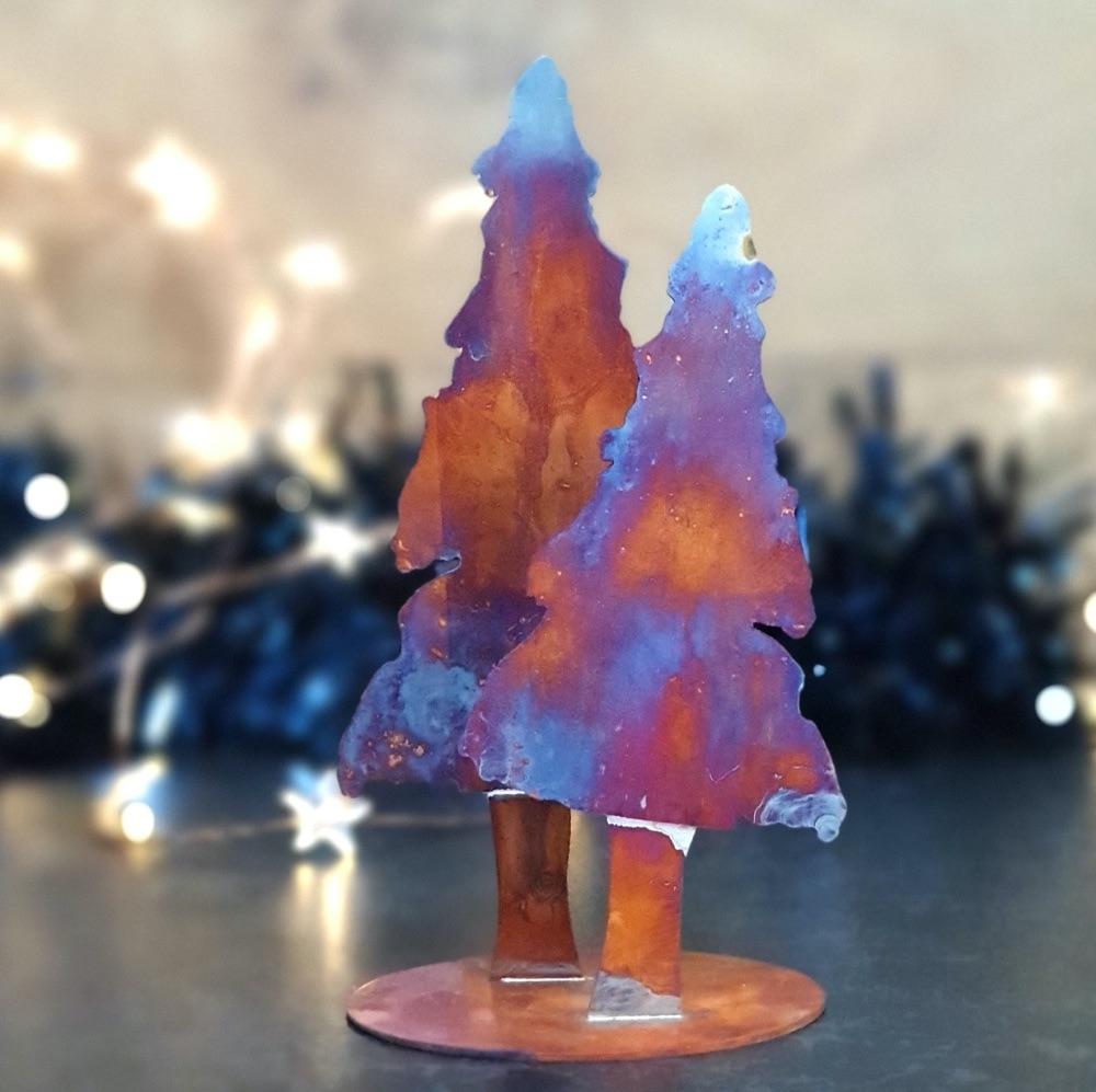 Handcut copper Christmas Trees
