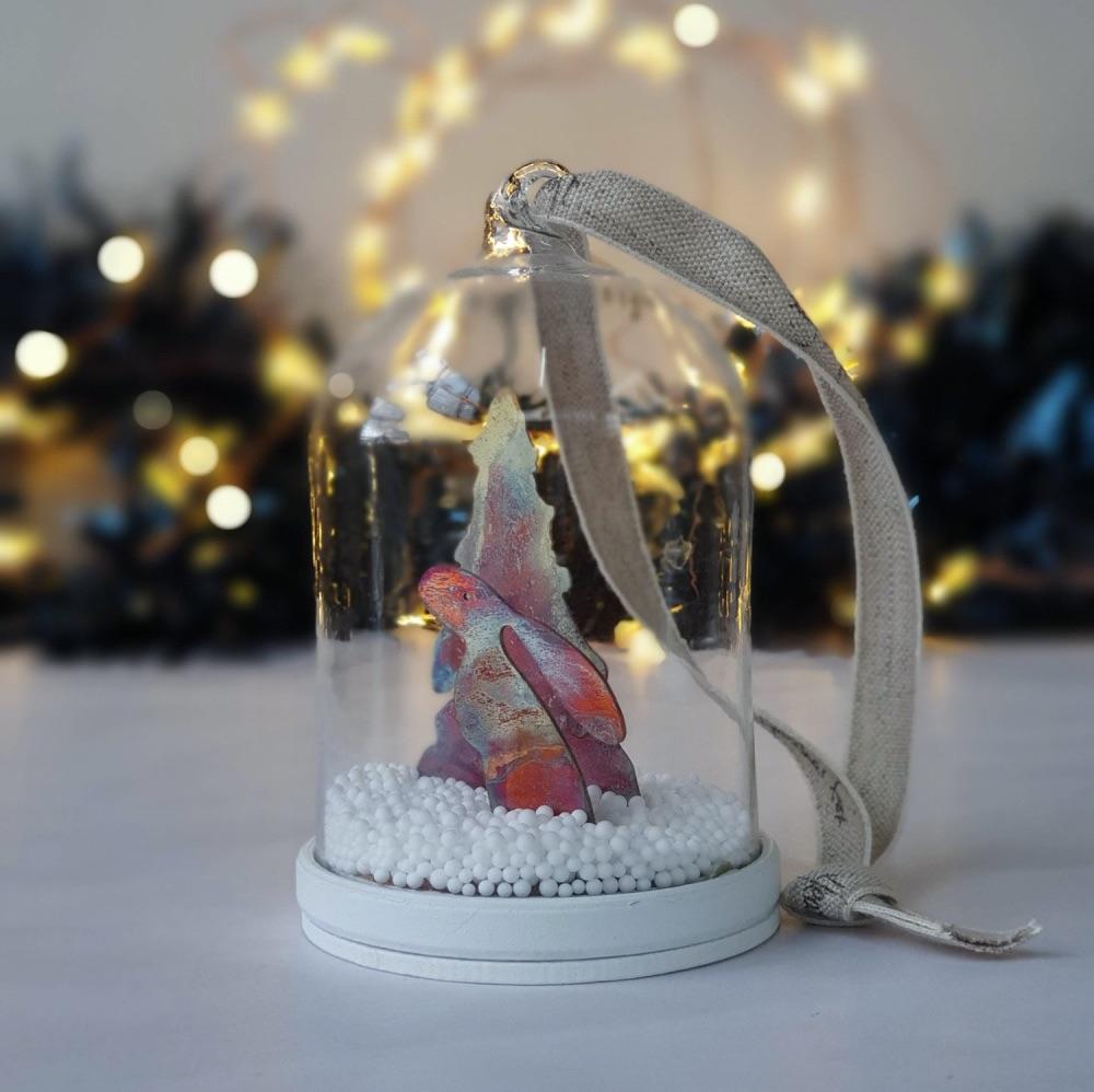 Moongazing hare Christmas tree bauble