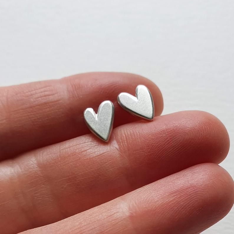 Handmade Silver Heart Stud Earrings