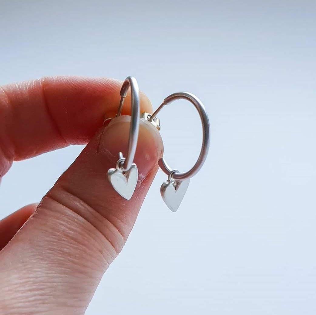 Handmade Silver Heart Hoop Earrings