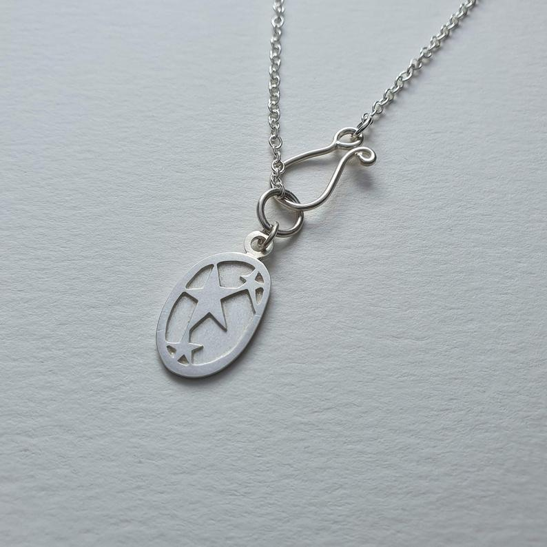 Handmade Silver Reach For The Stars Charm Necklace