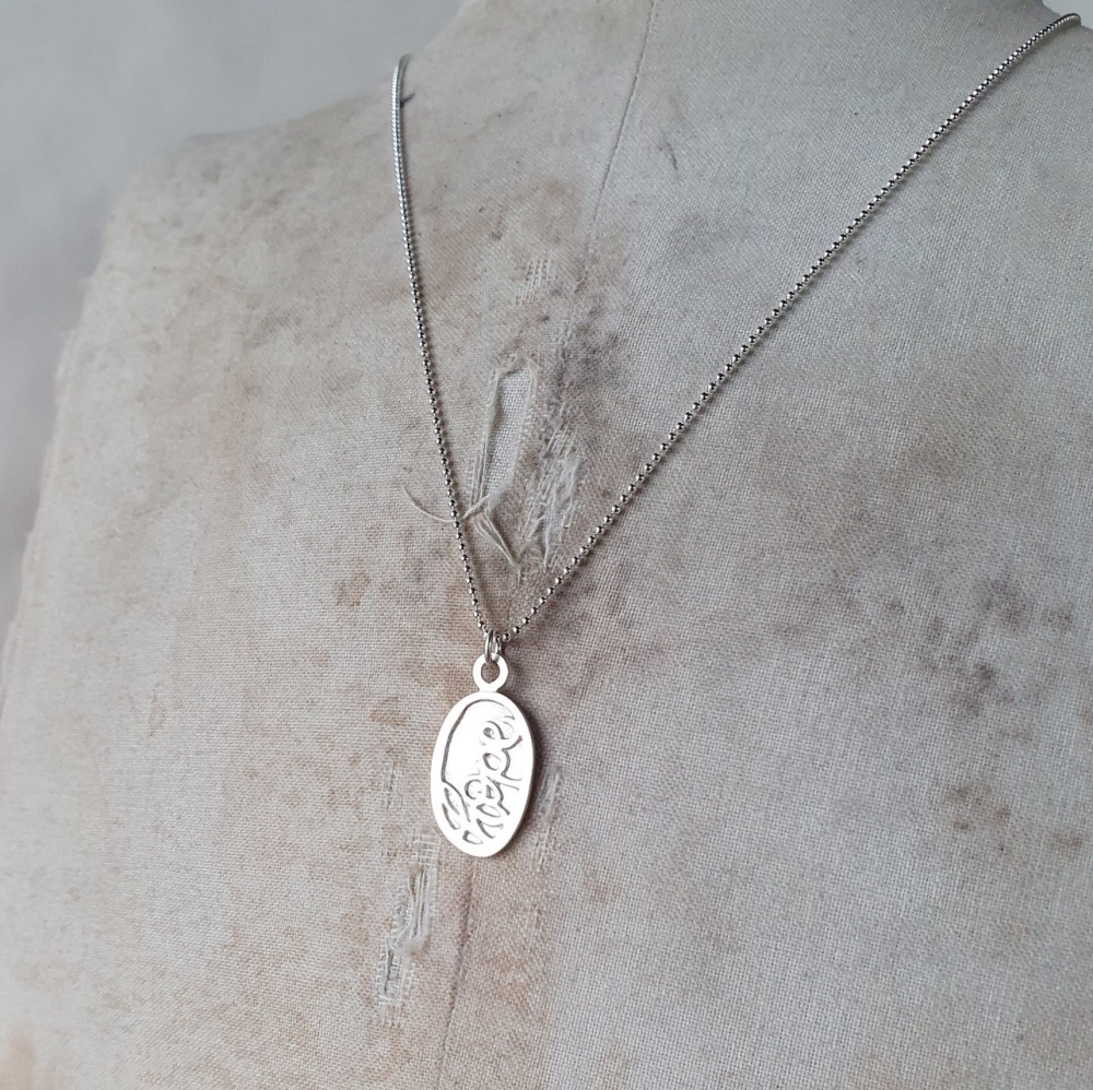 Handmade Silver Hope Charm Necklace