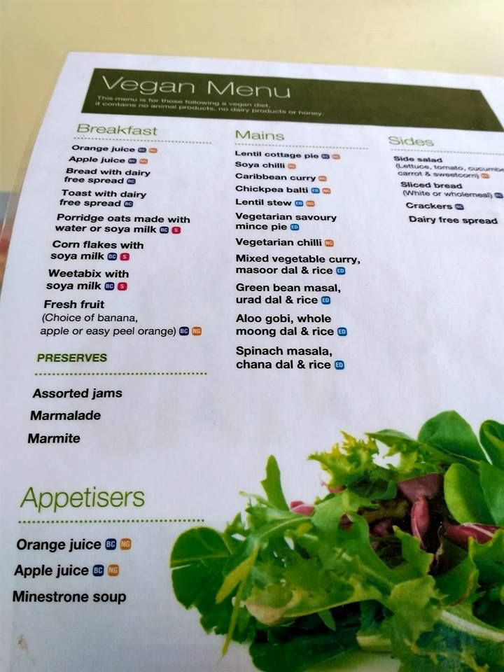 hospital vegan menu