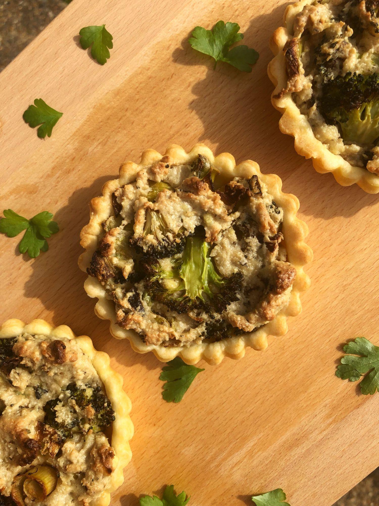 Broccoli and Vegan Ricotta Tartlets