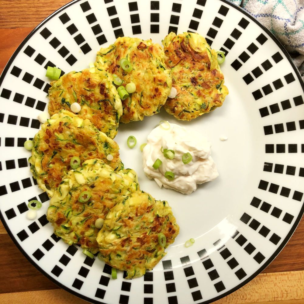 Courgette Fritters on plate