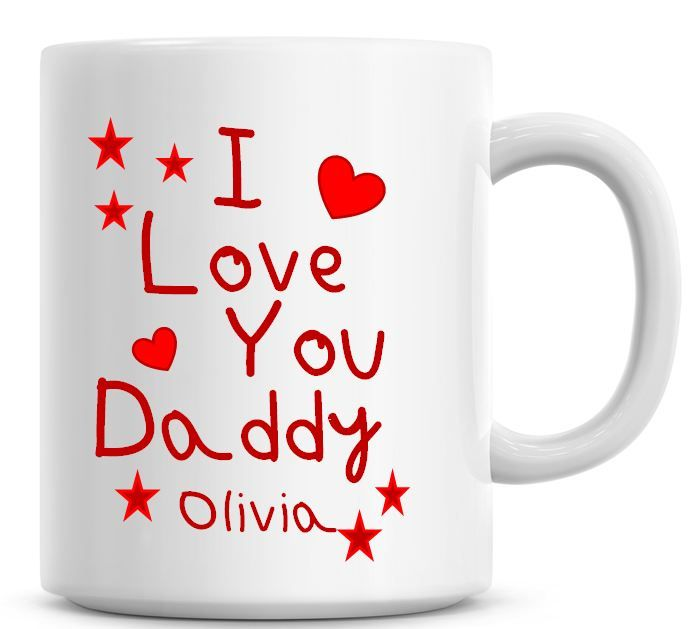Personalised I Love You Daddy Red Coffee Mug