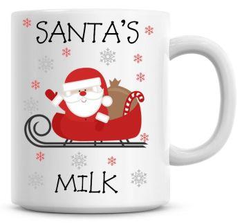 Personalised Named Merry Christmas Santa Sleigh Coffee Mug