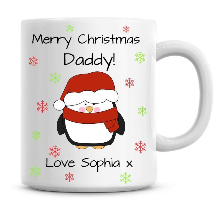 Personalised Named Merry Christmas Penguin Coffee Mug