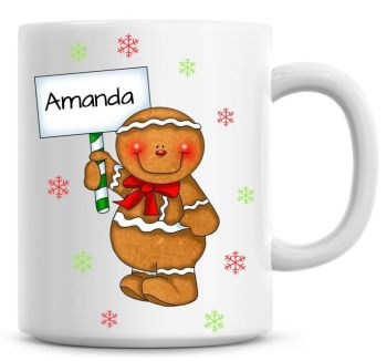 Personalised Named Merry Christmas Gingerbread Man Coffee Mug