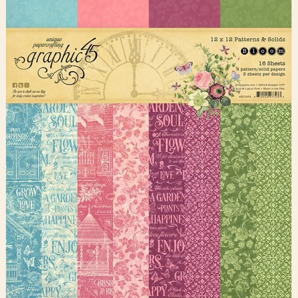 Graphic 45 - Bloom 12x12 Patterns & Solids Pad