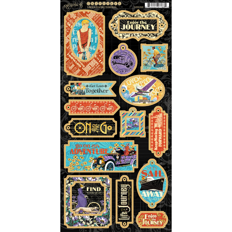 Graphic 45 - Life's a Journey Chipboards