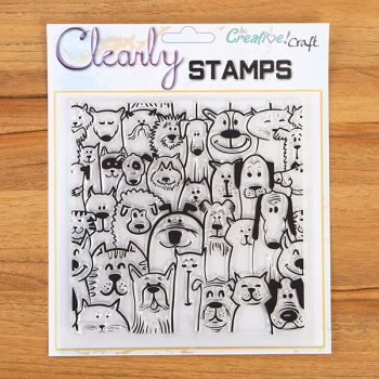 7x7 Furry Friends Background  Clear Stamp