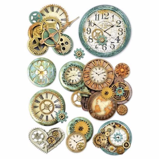 Stamperia A4 Rice Paper : Gearwheels and Clocks