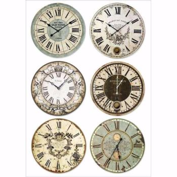 Stamperia : A4 rice paper : Clocks