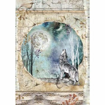 Stamperia : A4 Rice paper : Cosmos wolf and moon