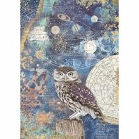 Stamperia  A4 Rice paper Cosmos Owl