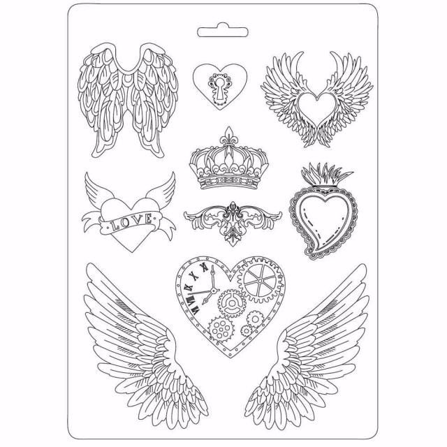 Stamperia soft mould : Hearts and Wings : A4